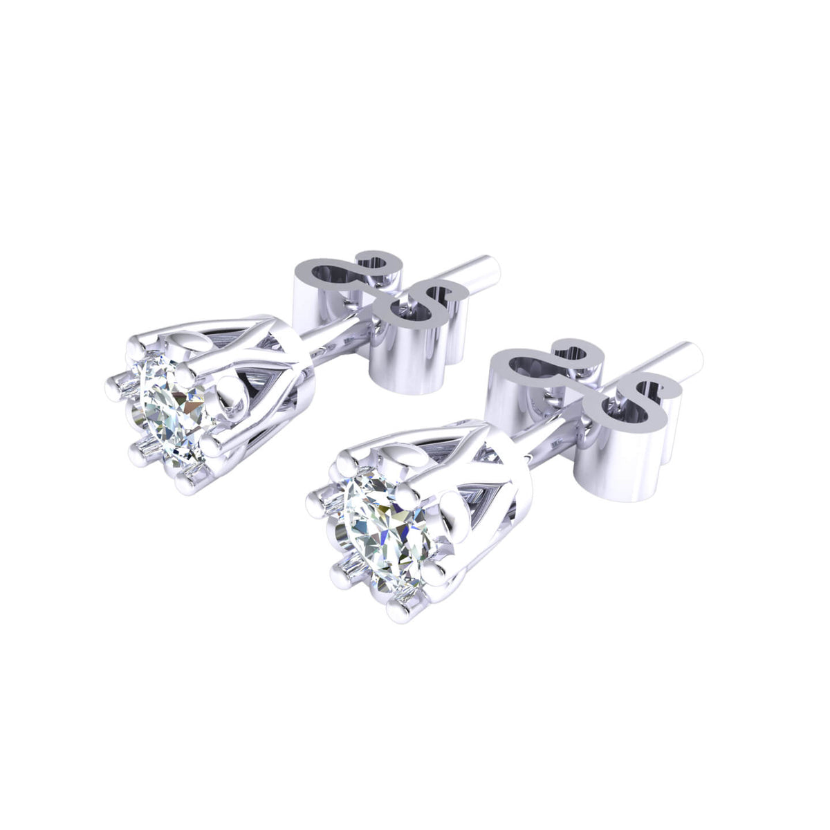 0.25 Ct Solitaire Classic Round GH SI1 Diamond Stud Earrings 14k Gold