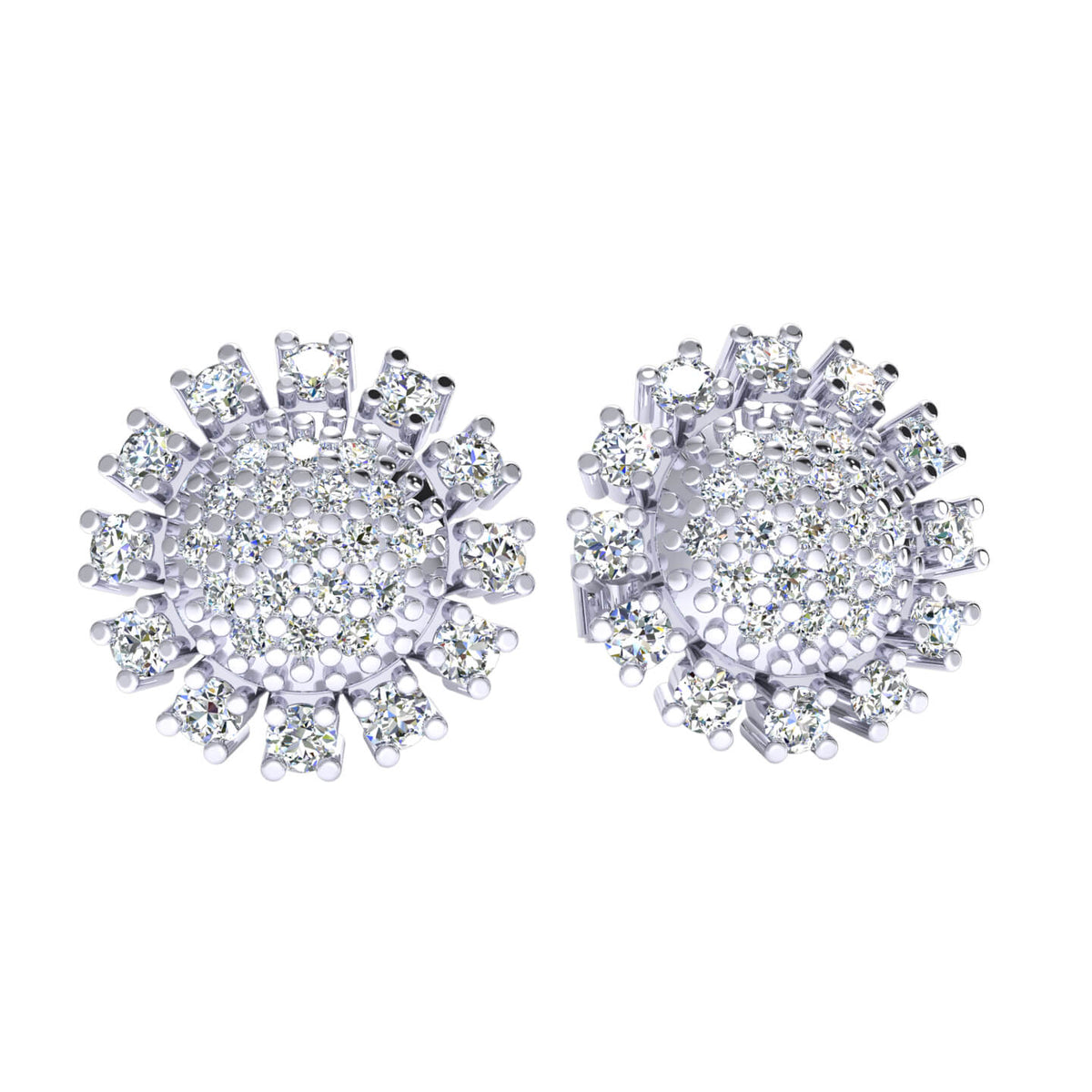 0.45 Ct Round H SI2 Diamond Cluster Stud Womens Fancy Earrings 10k Gold