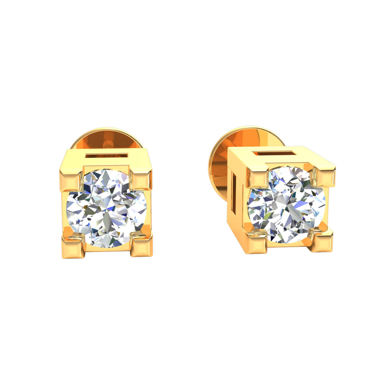 0.05 Ct Round H SI2 Diamond Solitaire Unisex Stud Earrings 10k Gold