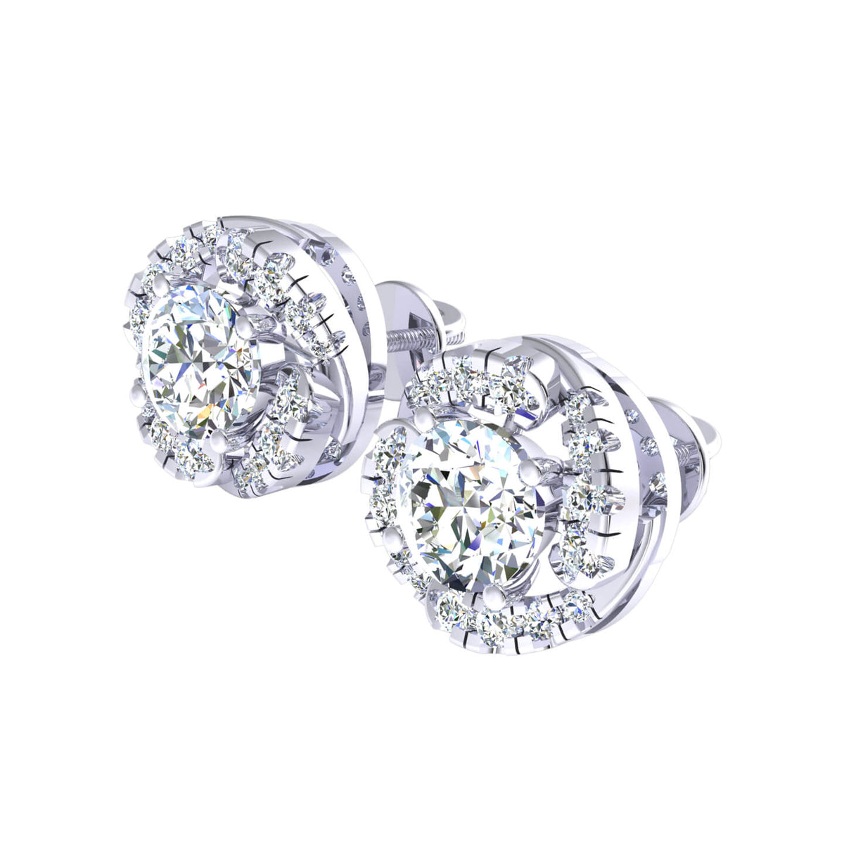 0.95 Ct Fancy Round H SI2 Diamond Stud Earrings For Adults 10k Gold