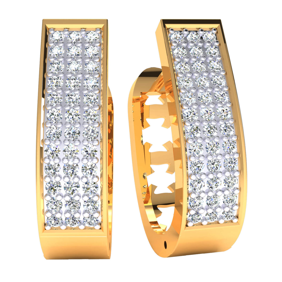 0.66 Ct Round H SI2 Diamond Drop Unisex Hoop Earrings 10k Gold