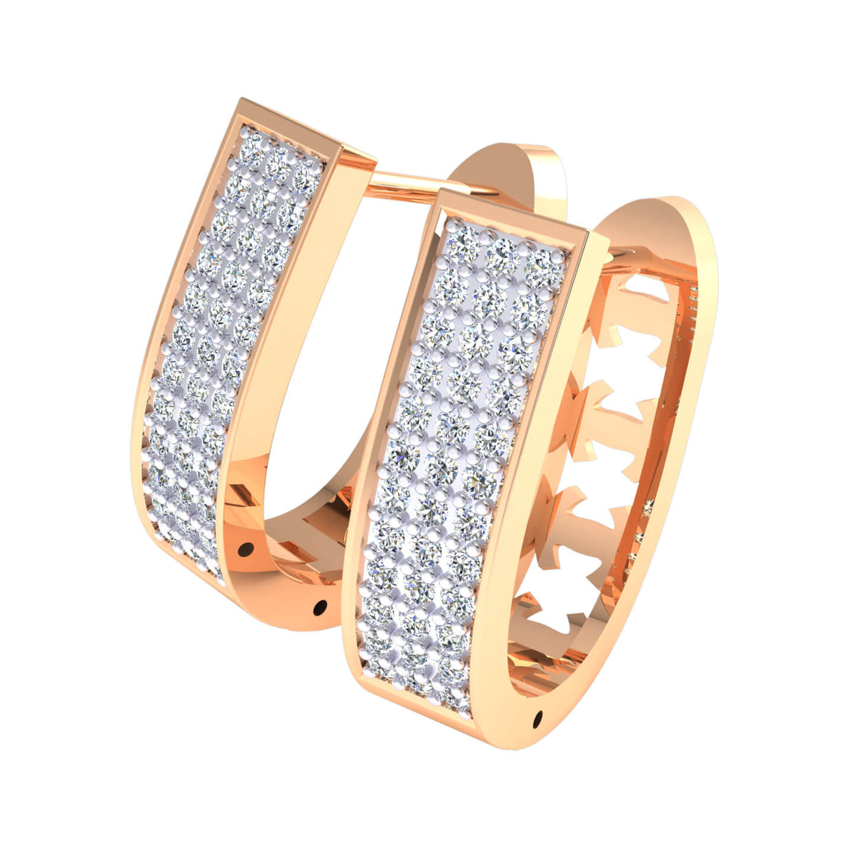 0.66 Ct Round GH SI1 Diamond Drop Unisex Hoop Earrings 14k Gold