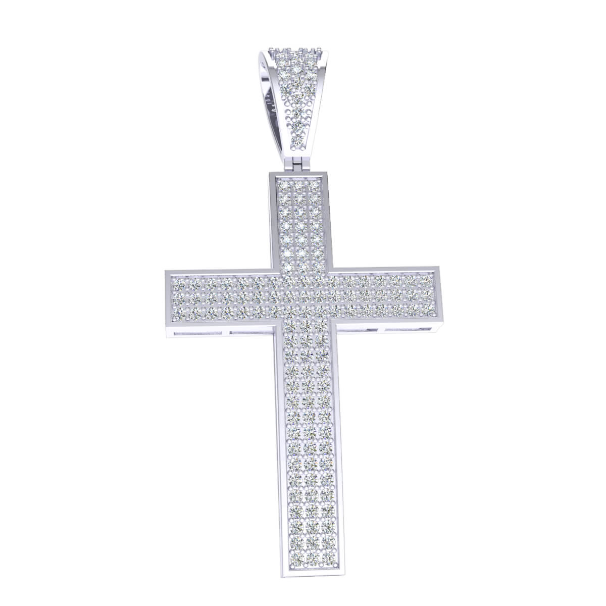 0.75 Ct NaturalDrop Cross Religious Pendant 925 Sterling Silver