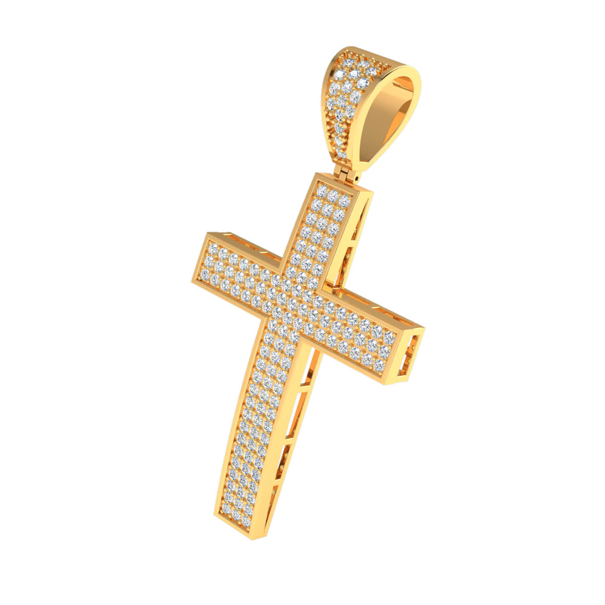 0.75 Ct Natural JK I1 Drop Cross Religious Pendant 10k Gold
