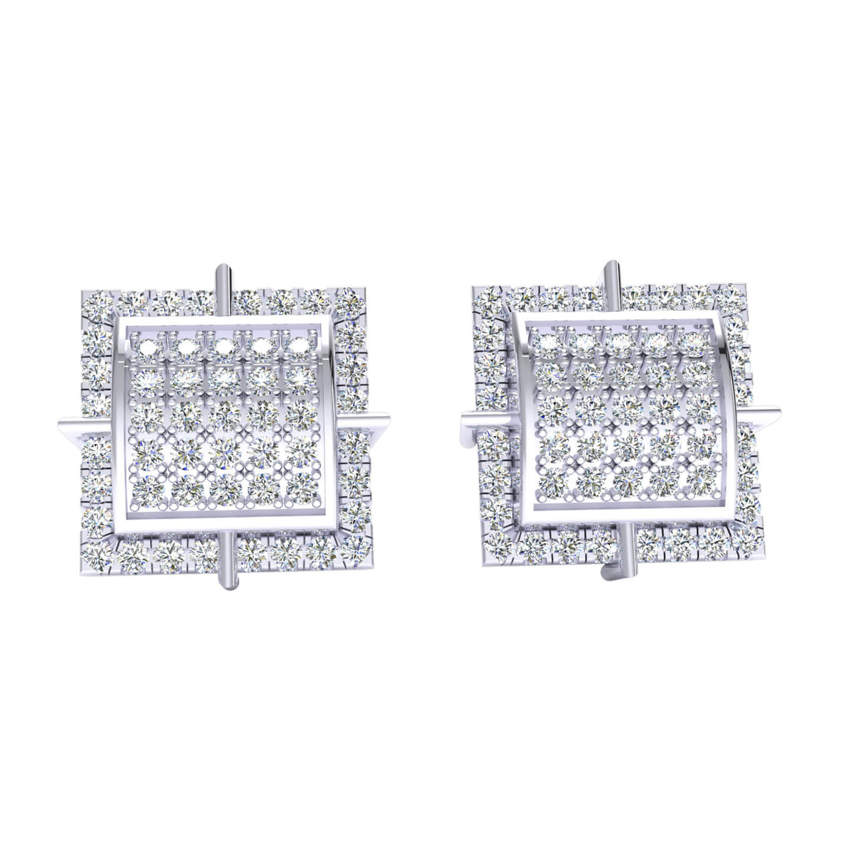 0.55 Ct Cluster Round H SI2 Diamond Stud Earrings For Womens 10k Gold