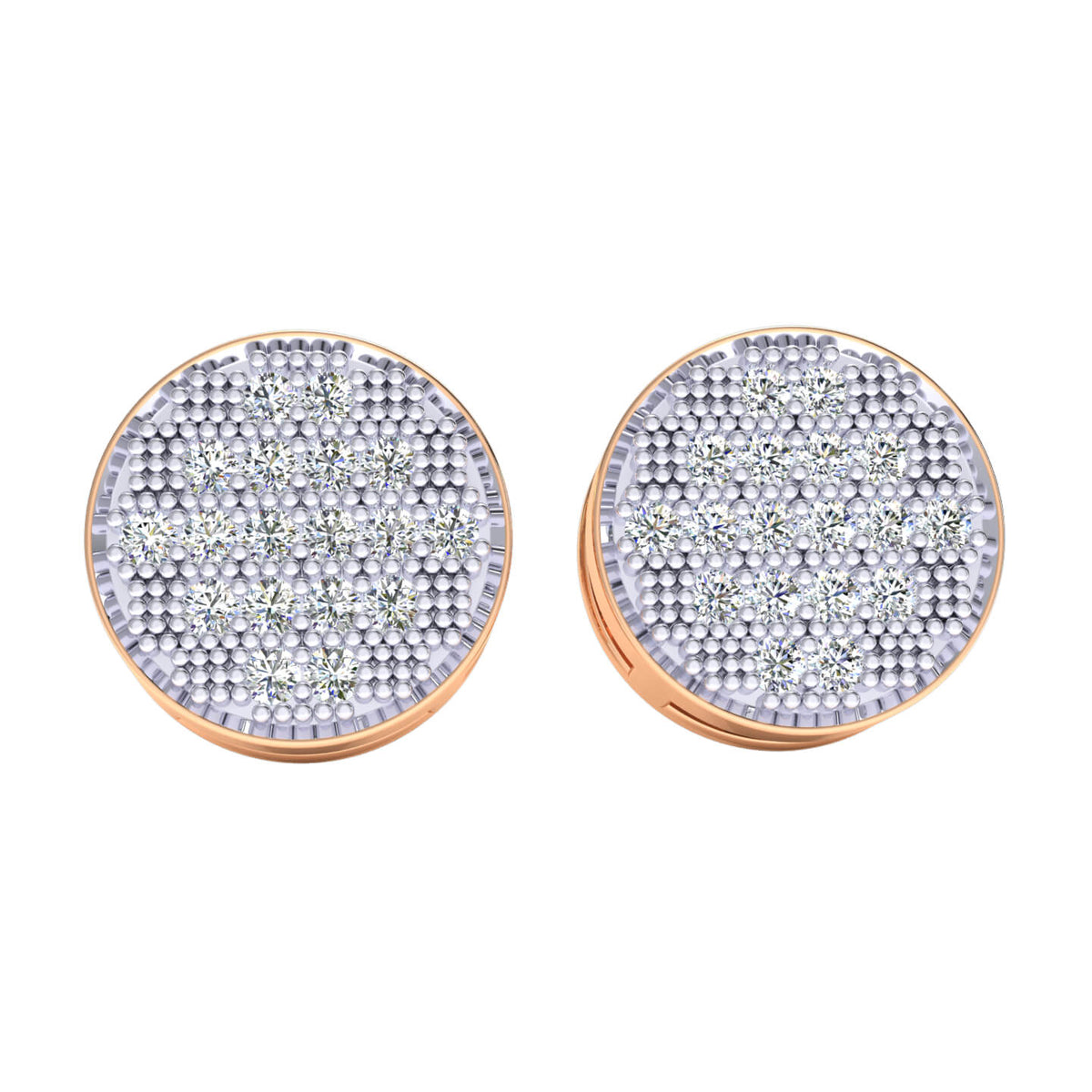 0.40 Ct Circle Cluster Round GH I1-I2 Diamond Stud Earrings 925 Sterling Silver