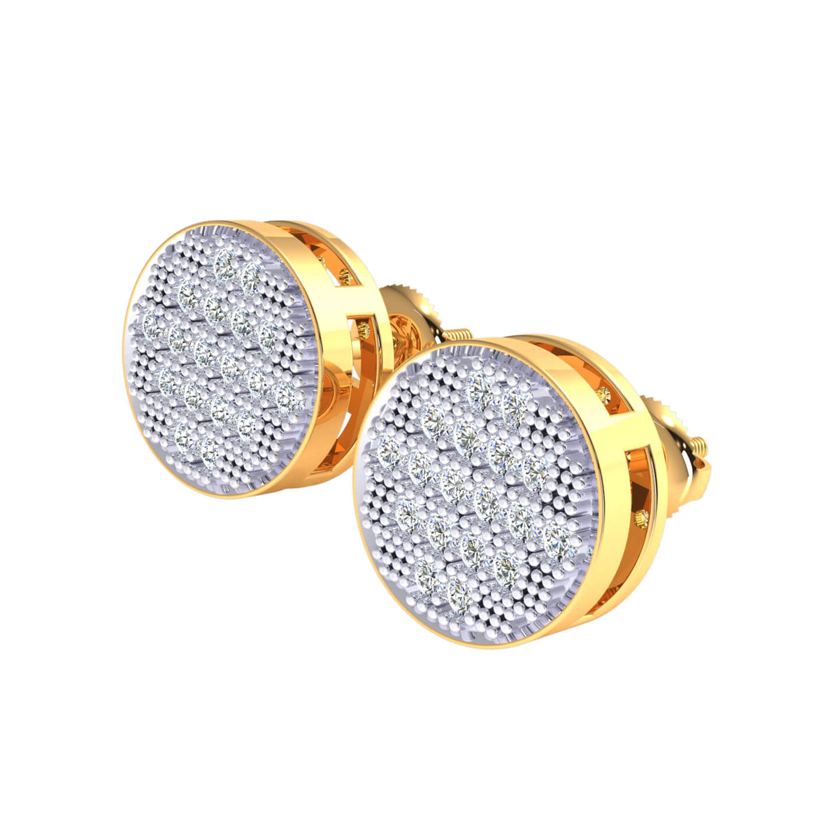 0.40 Ct Circle Cluster Round GH SI1 Diamond Stud Earrings 10k Gold