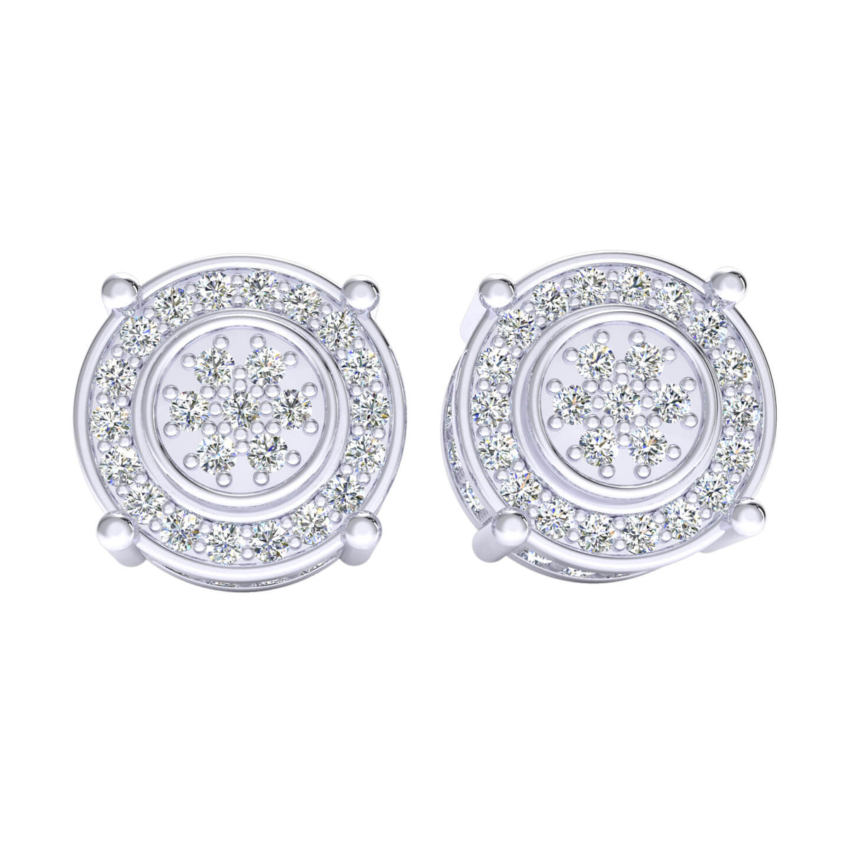 0.75 Ct Round GH I1-I2 Diamond Cluster Circle Womens Stud Earrings 925 Sterling Silver