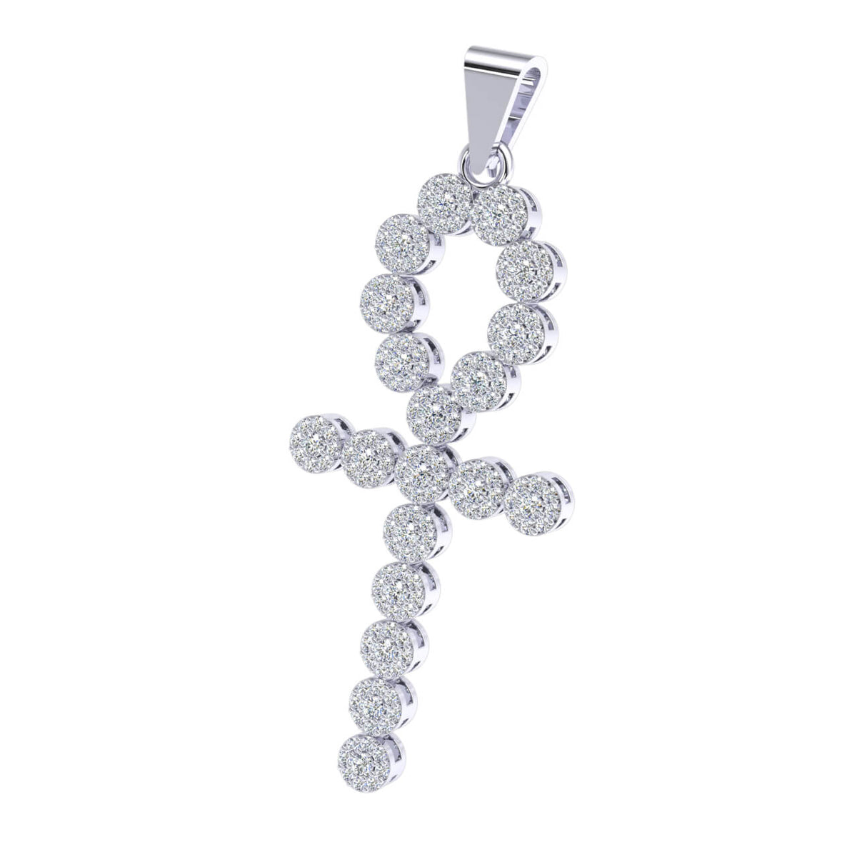 1.00 Ct Ankh Cross Round GH I1-I2 Diamond Religious Pendant For Adults 925 Sterling Silver