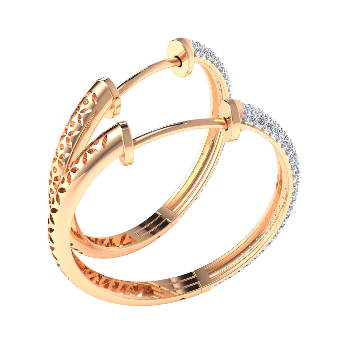 1.25 Ct Hinged Round GH SI1 Diamond Hoop Earrings For Womens 14k Gold