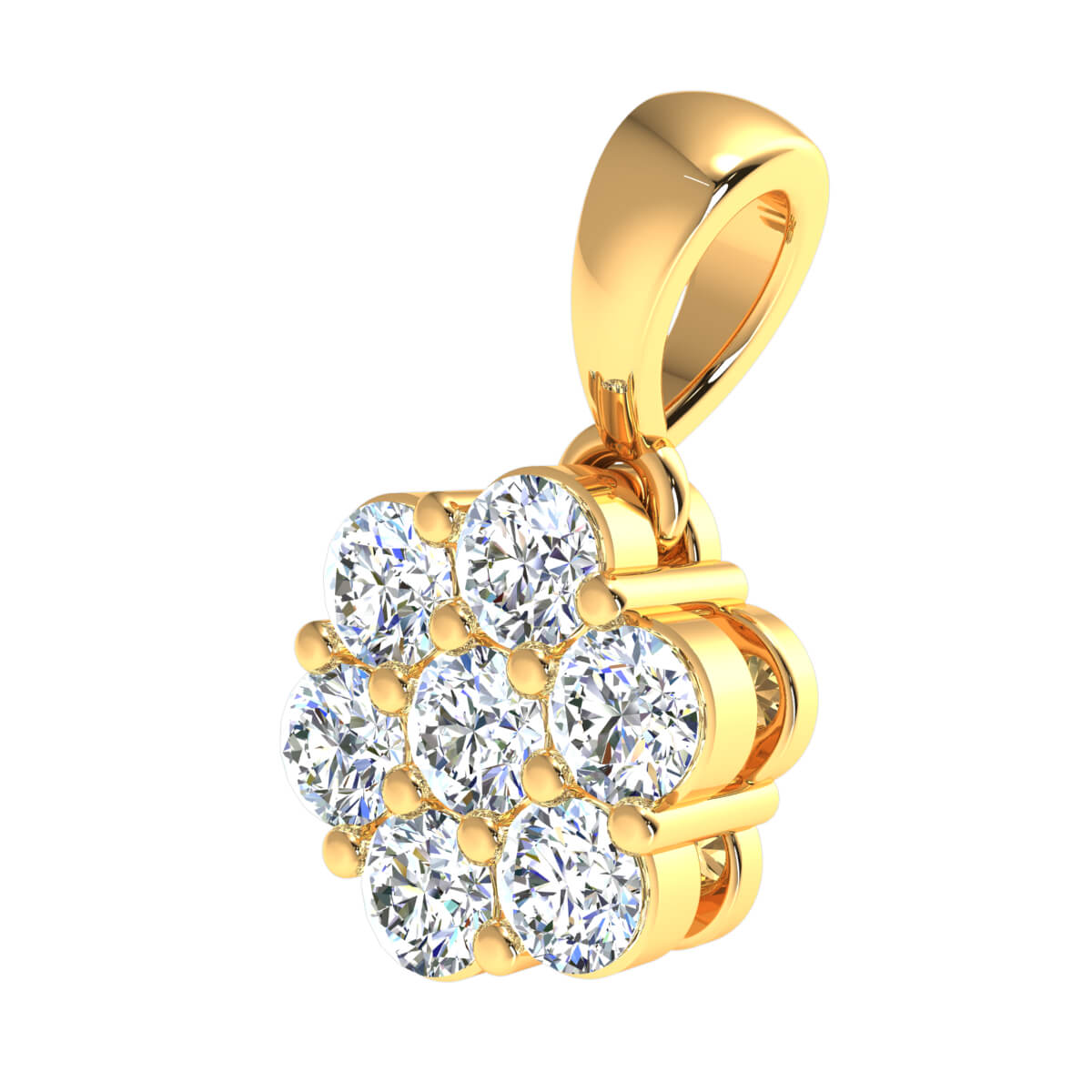 0.80 Ct Natural IJ SI2 7 Stone Cluster Fancy Pendant 14k Gold