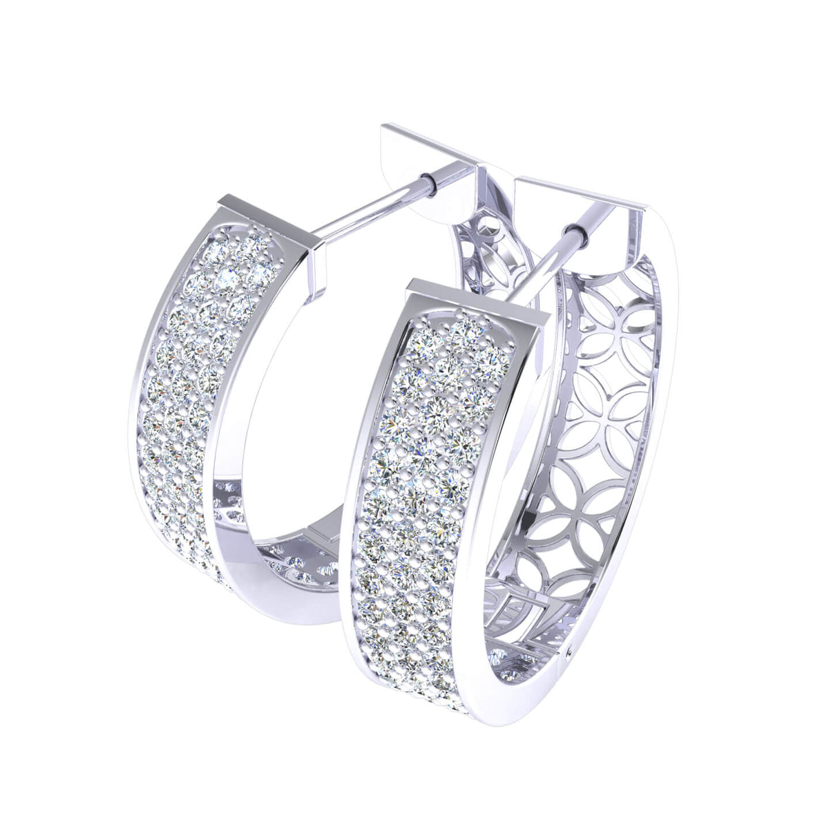 2.10 Ct Hinged 3-Row Round GH SI2 Diamond Hoop Earrings 14k Gold