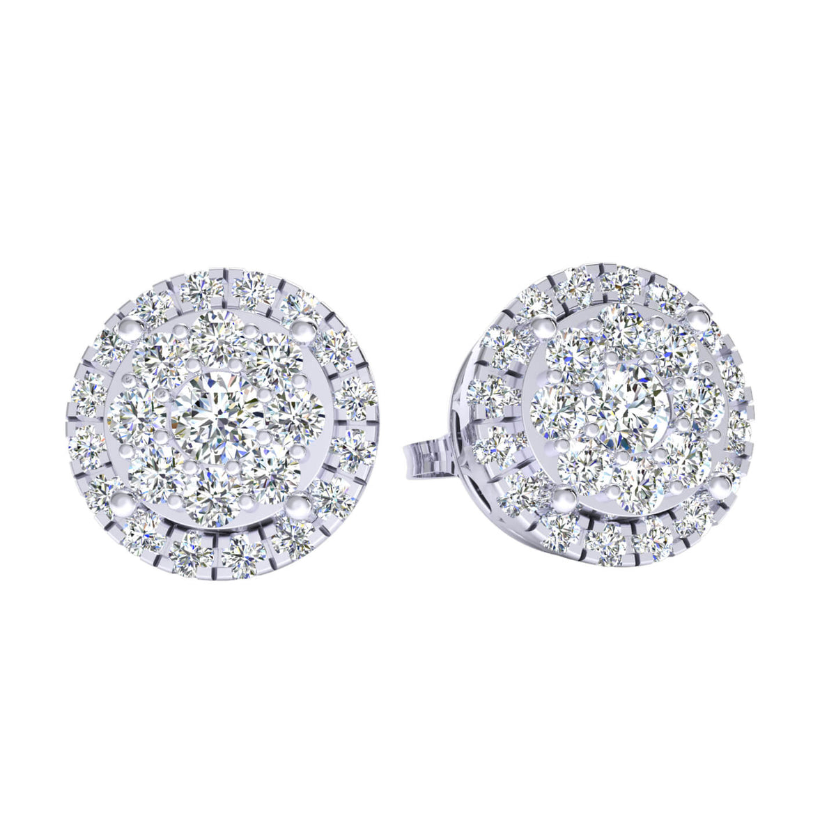 1.25 Ct Circle Round GH I1-I2 Diamond Stud Earrings For Womens 925 Sterling Silver