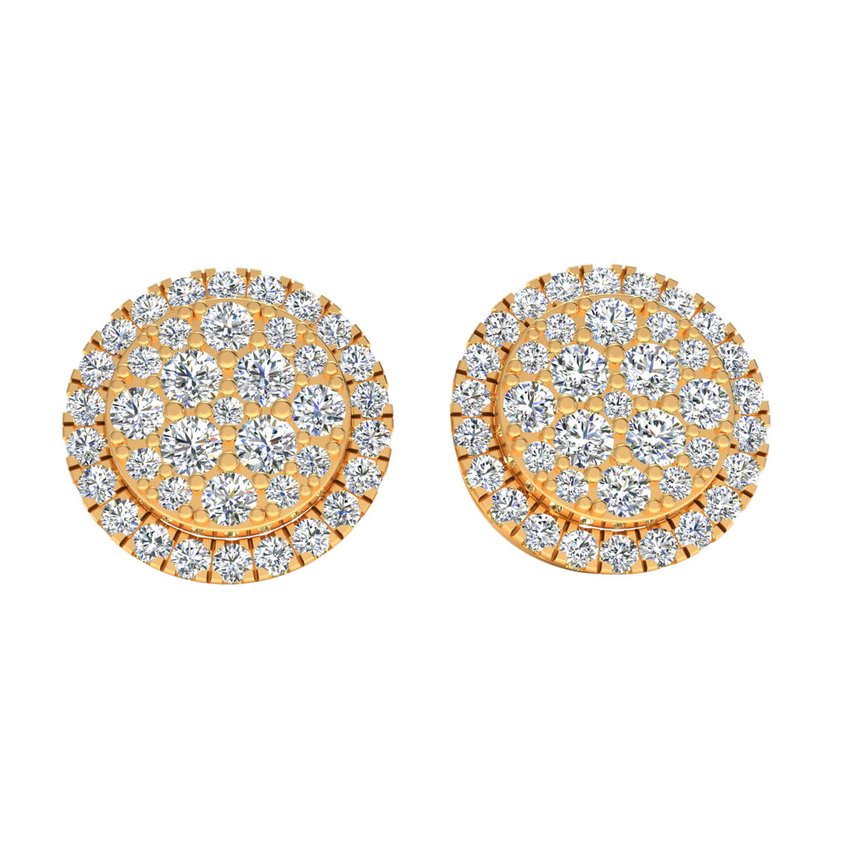 1.90 Ct Round GH SI2 Diamond Halo Circle Womens Stud Earrings 14k Gold