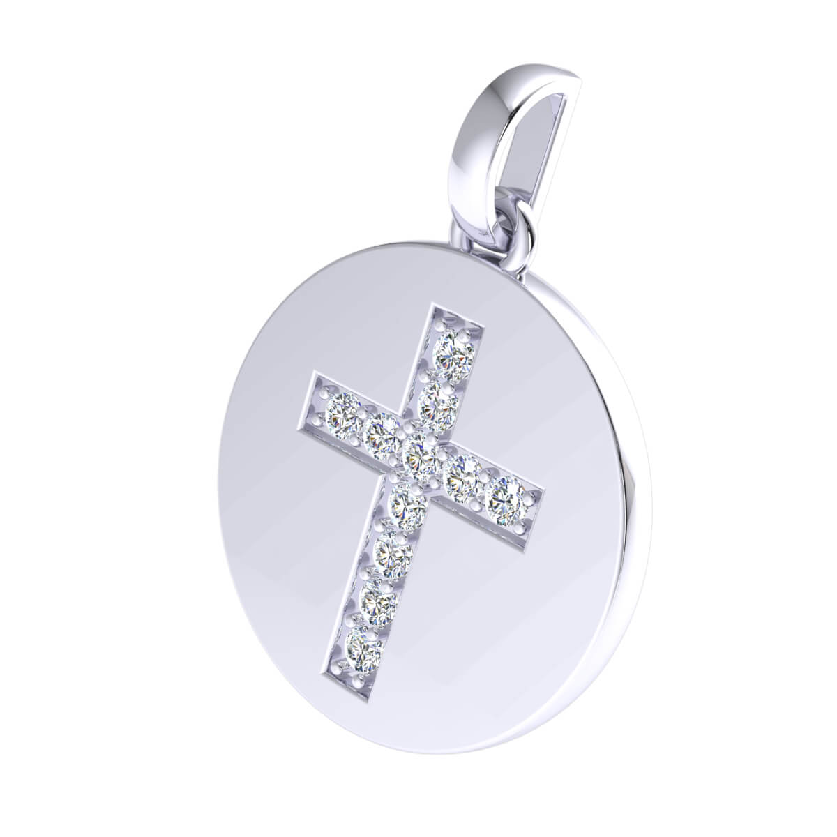 0.25 Ct Natural GH I1-I2 Circle Cross Religious Pendant 925 Sterling Silver