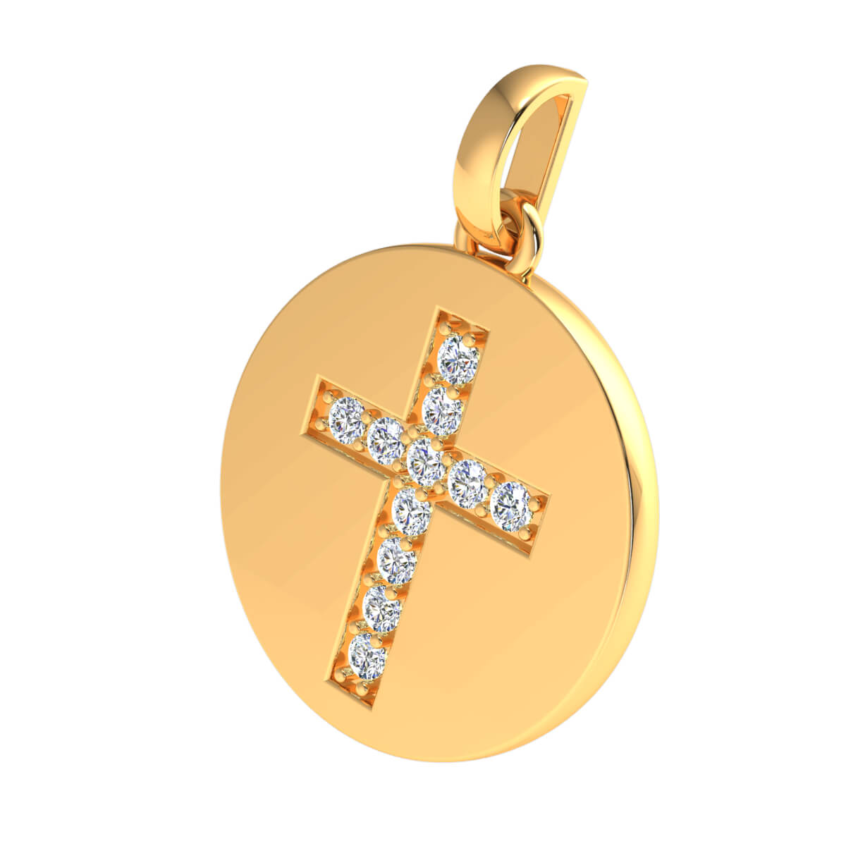 0.25 Ct Natural GH SI1 Circle Cross Religious Pendant 14k Gold