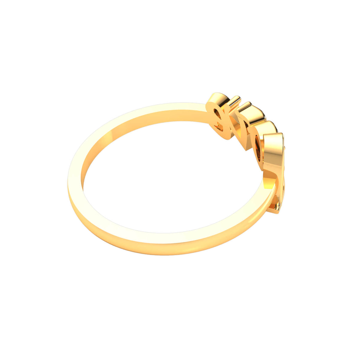 0.02 Ct Round FG VS Diamond Love Initial Fancy Ring For Women 14k Gold