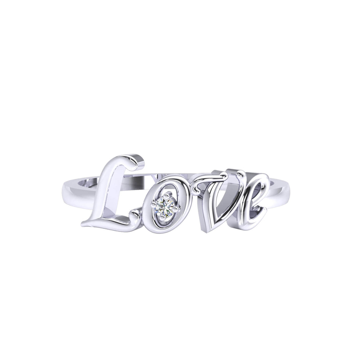 0.02 Ct Round GH I1-I2 Diamond Love Initial Fancy Ring For Women 925 Silver