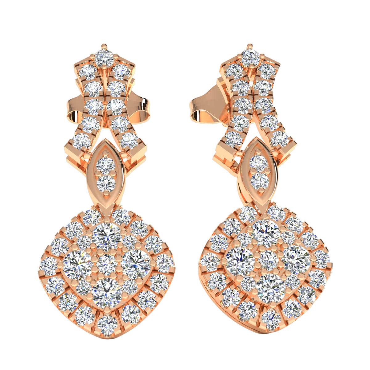 1.20 Ct Round GH SI1 Diamond Drop Womens Fancy Earrings 14k Gold