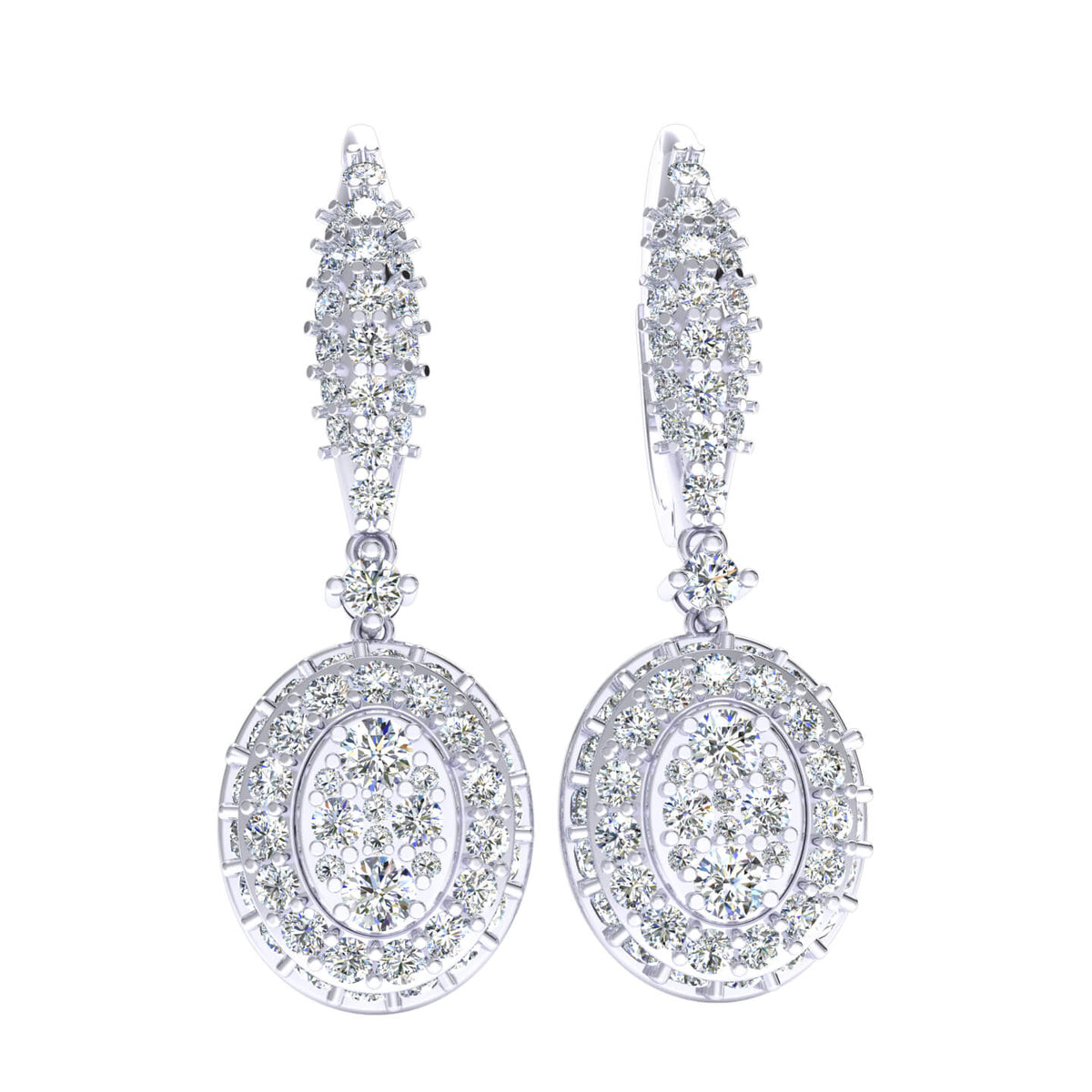 1.25 Ct Drop Cluster Round H SI2 Diamond Fancy Earrings 10k Gold