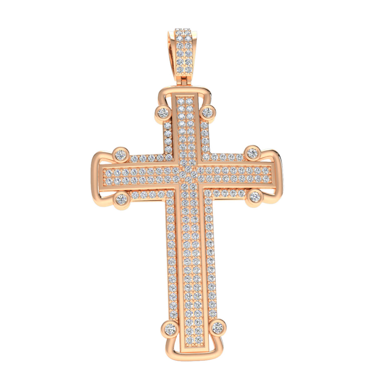 0.90 Ct Natural JK I1 Pave Cross Religious Pendant 10k Gold