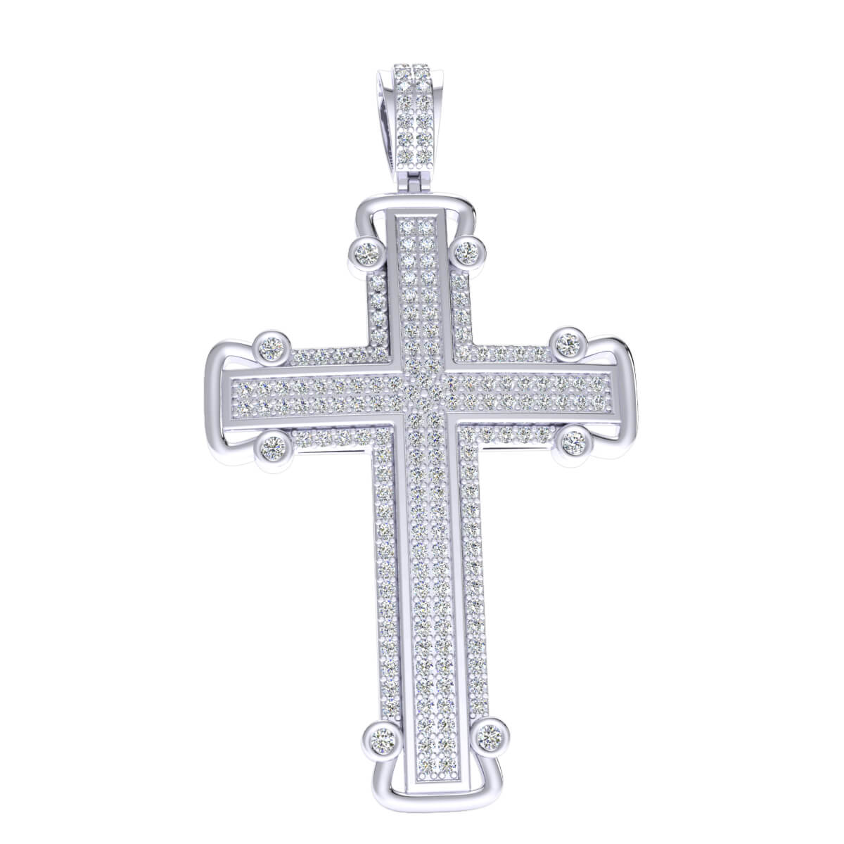 0.90 Ct NaturalPave Cross Religious Pendant 925 Sterling Silver