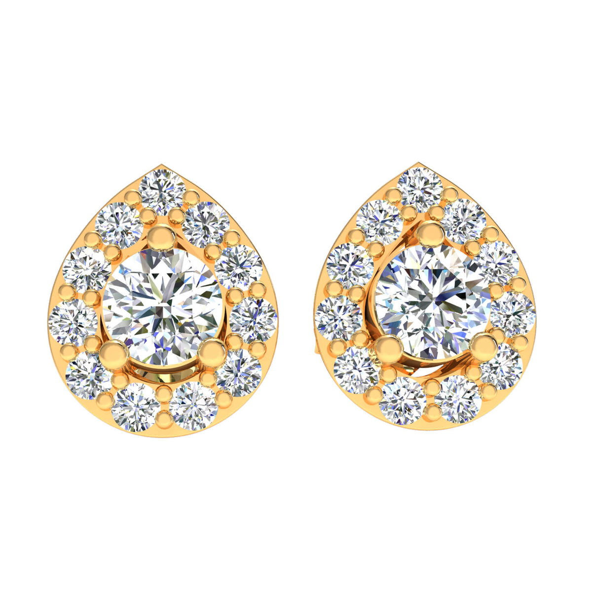 1.90 Ct Round GH SI1 Diamond Halo Solitaire Womens Stud Earrings 14k Gold