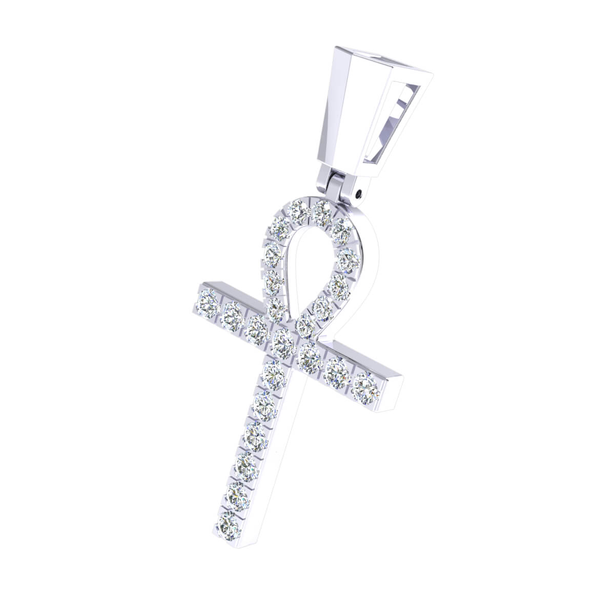 0.46 Ct Natural IJ SI2 Ankh Cross Religious Pendant 14k Gold