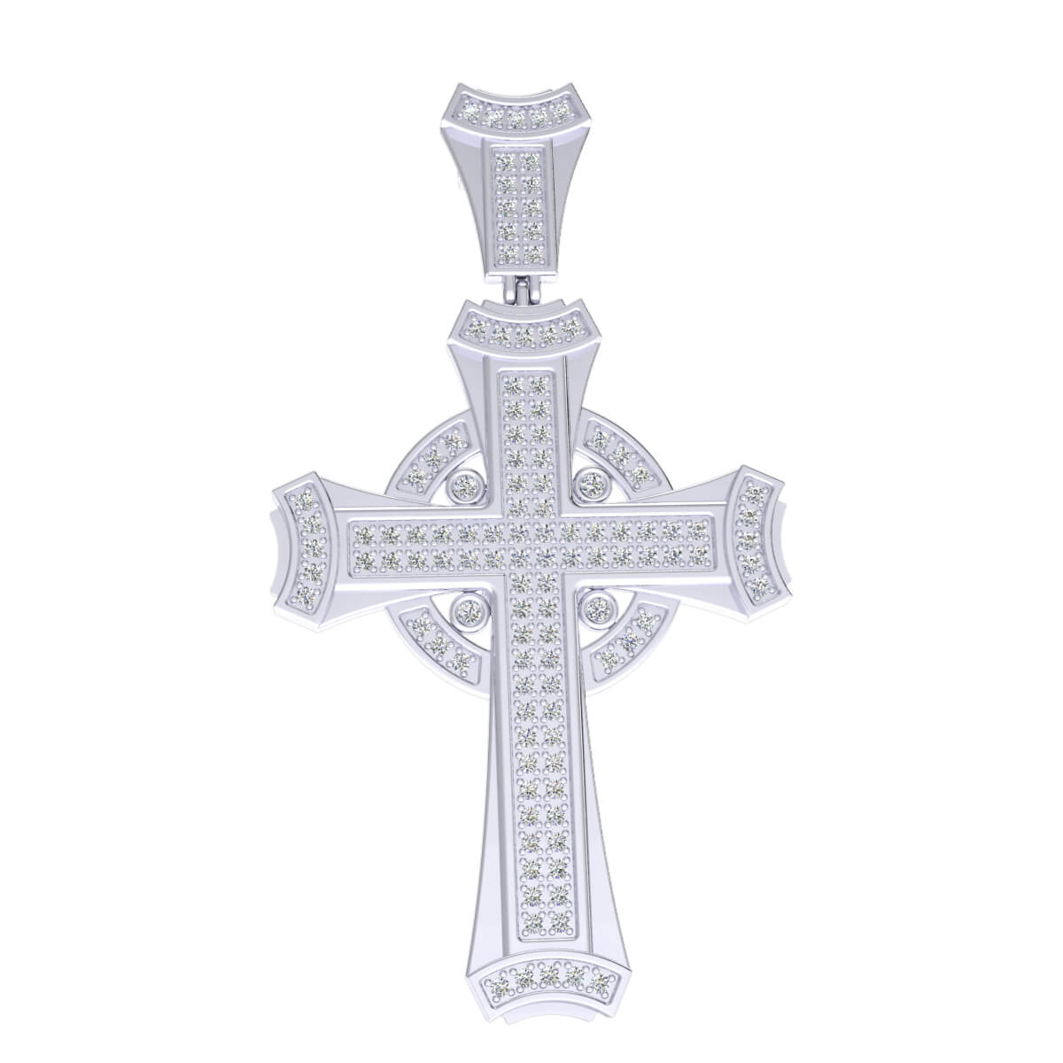 0.75 Ct Natural JK I1 Designer Cross Religious Pendant 10k Gold