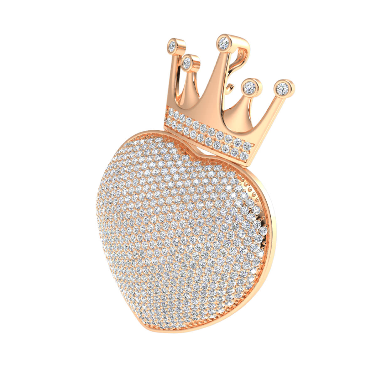 2.75 Ct Natural GH SI2 Crown Heart Drop Pendant 14k Gold
