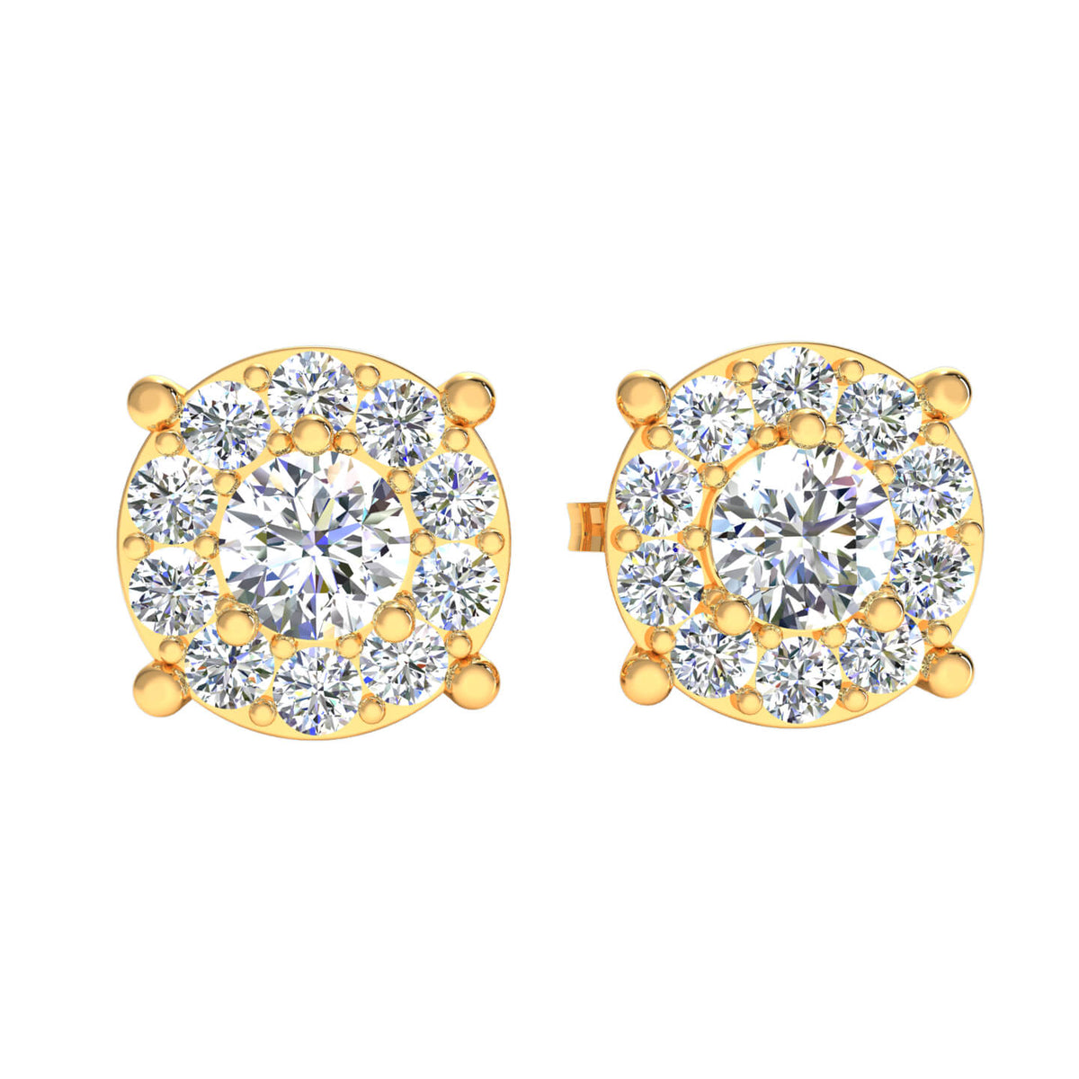 1.10 Ct Round GH SI2 Diamond Solitaire Womens Stud Earrings 14k Gold