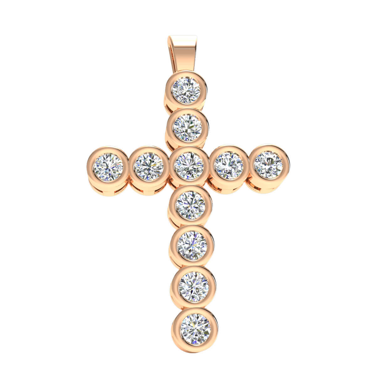 1.25 Ct Natural G SI1 Cross Bezel Set Drop Pendant 18k Gold