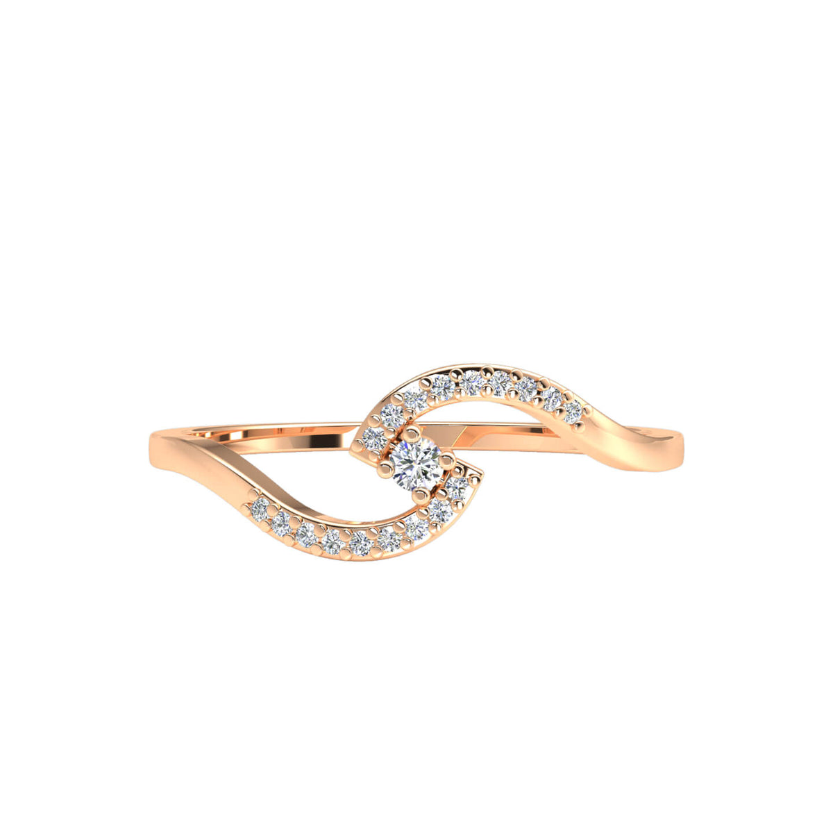 0.10 Ct Women's Round FG VS Diamond Bypass Accent Fancy Ring 14k Gold