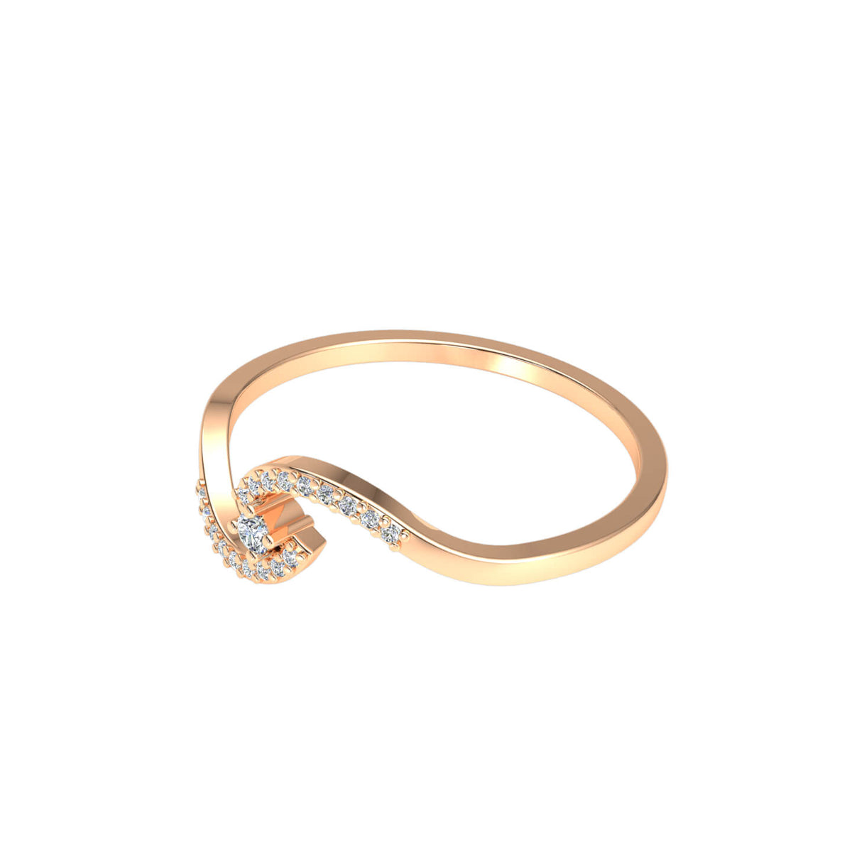 0.10 Ct Women's Round GH SI1 Diamond Bypass Accent Fancy Ring 10k Gold