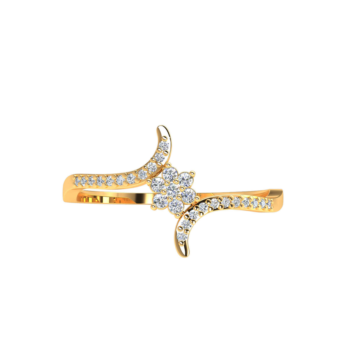 0.12 Ct Round GH SI1 Diamond Flower Cluster Fancy Ring For Women 10k Gold