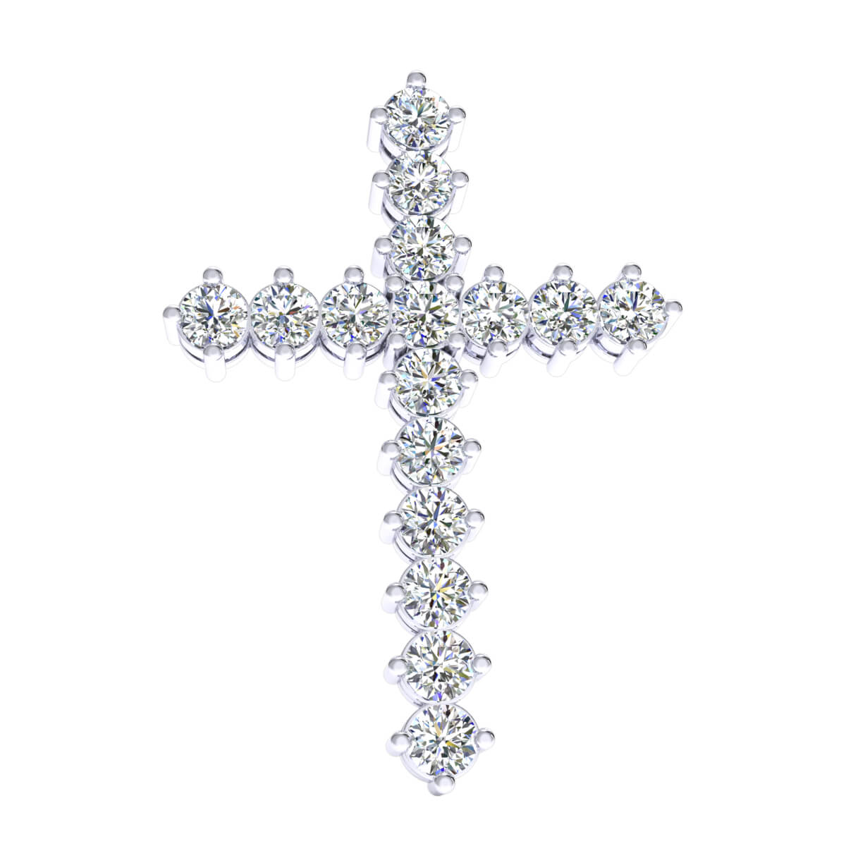 2.35 Ct Natural GH SI1 Religious Cross Drop Pendant 14k Gold