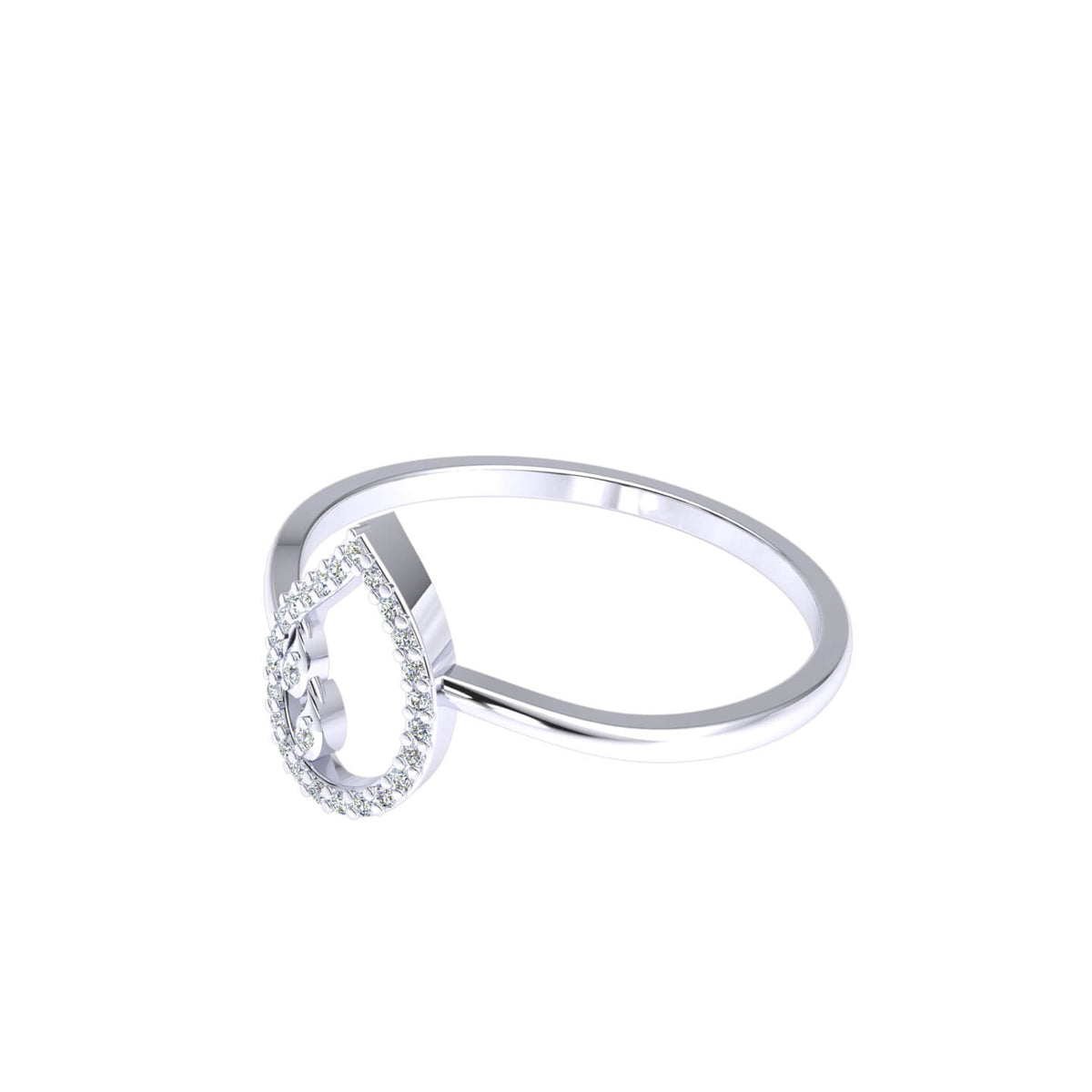 0.10 Ct Drop Women's Pave Round GH I1-I2 Diamond Fancy Ring 925 Silver