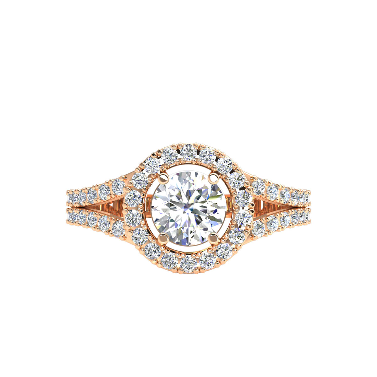 0.90 Ct Women's Round FG VS Diamond Halo Solitaire Engagement Ring 14k Gold