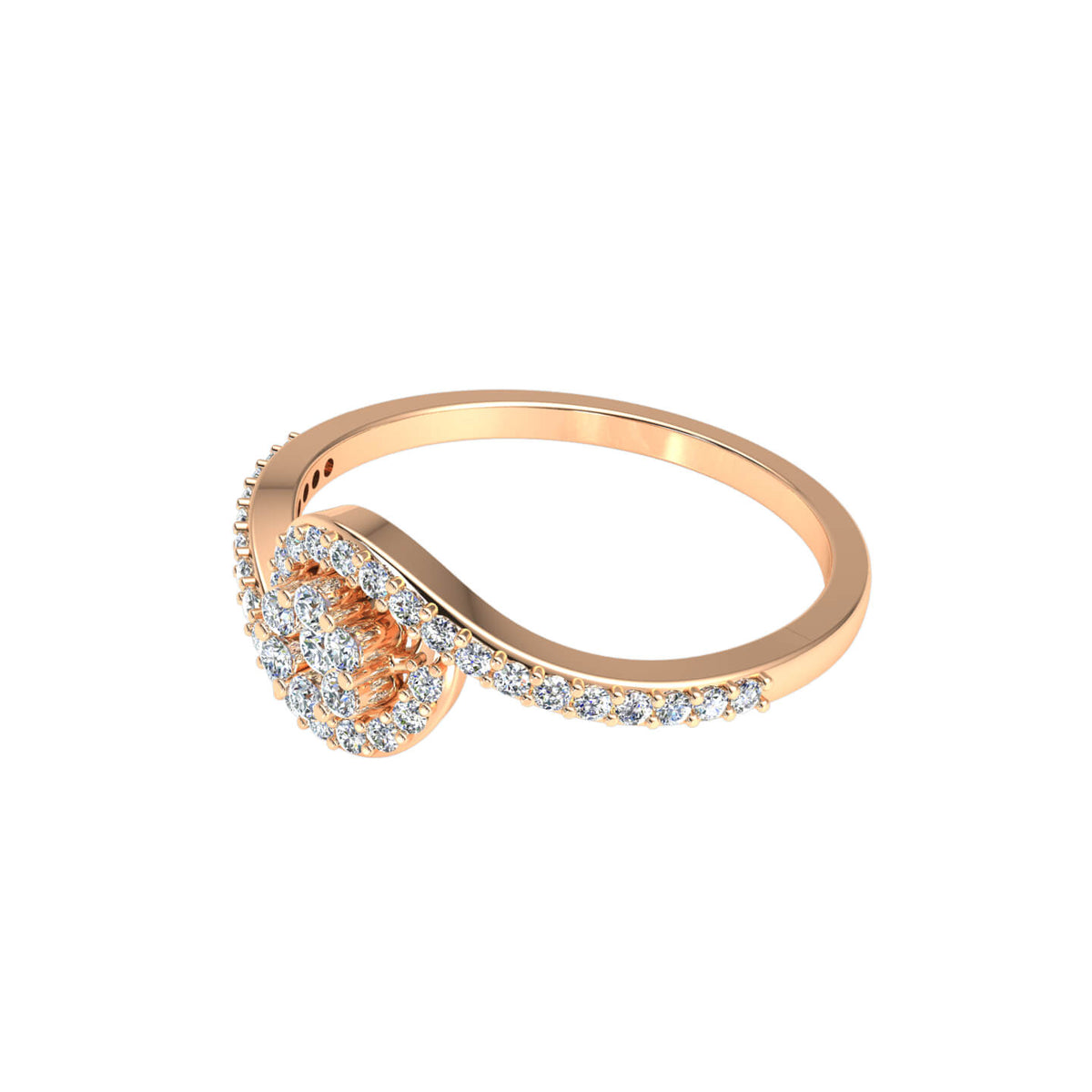 0.33 Ct Round GH I1-I2 Diamond Wrap Cluster Fancy Ring For Women 925 Silver