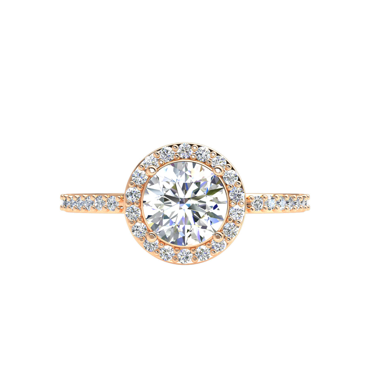 1.10 Ct Accents Halo Women's Solitaire Round FG VS Diamond Engagement Ring 14k Gold