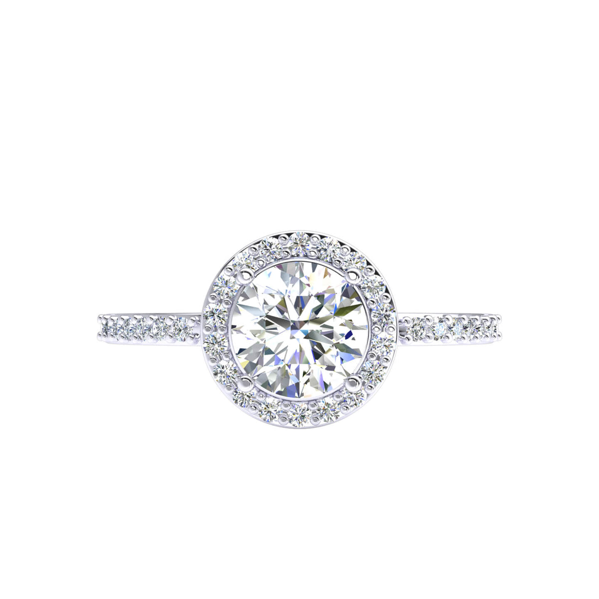 1.10 Ct Accents Halo Women's Solitaire Round F VS1 Diamond Engagement Ring 18k Gold