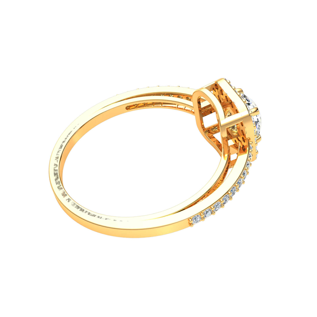 0.75 Ct Round GH SI1 Diamond Halo Solitaire Engagement Ring For Women 10k Gold