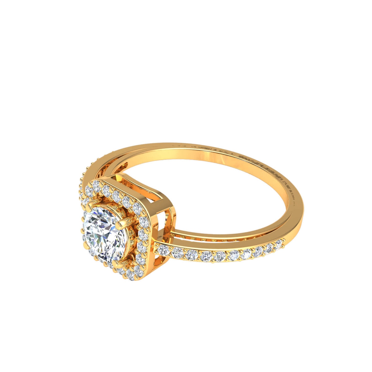 0.75 Ct Round FG VS Diamond Halo Solitaire Engagement Ring For Women 14k Gold