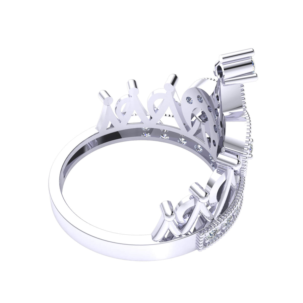 0.50 Ct Round GH I1-I2 Diamond Crown Shaped Fancy Fancy Ring For Women 925 Silver