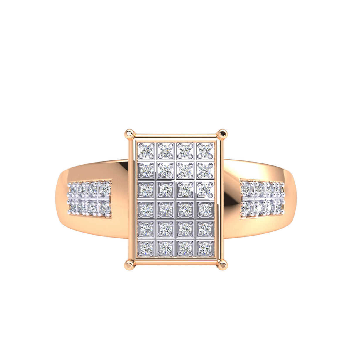 0.17 Ct Round GH SI1 Diamond Micro Pave Hip Hop Men's Ring For Men 10k Gold
