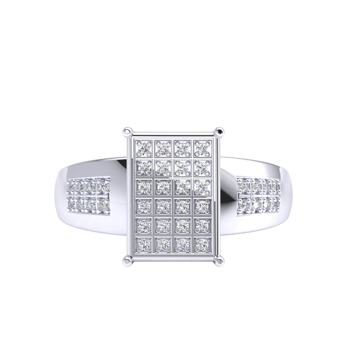 0.17 Ct Round FG VS Diamond Micro Pave Hip Hop Men's Ring For Men 14k Gold