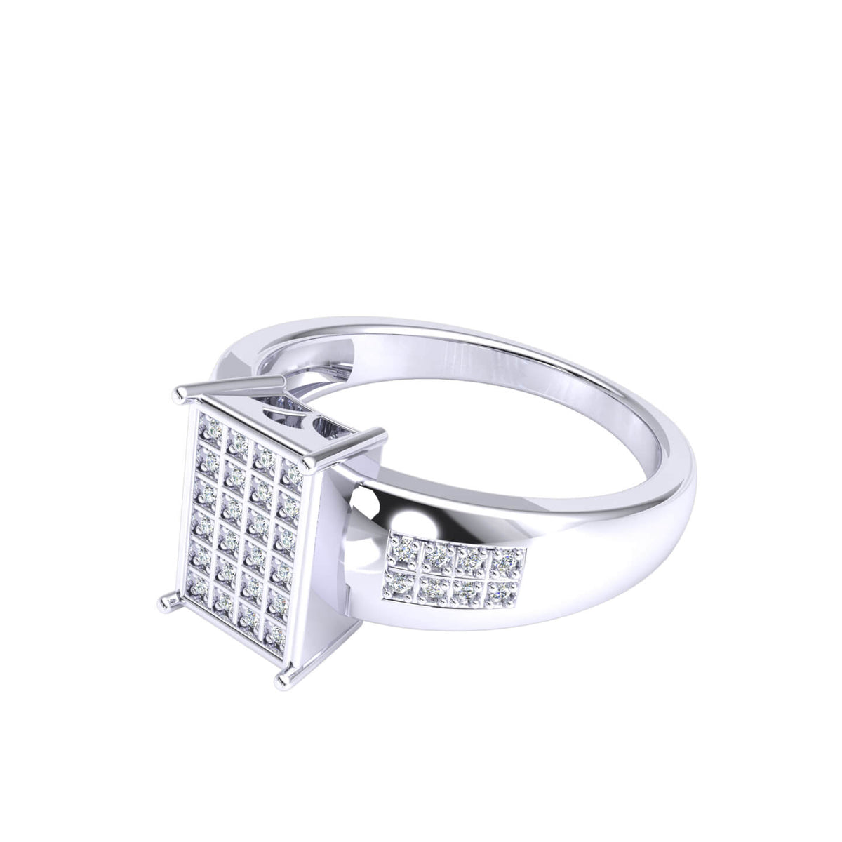 0.17 Ct Round GH I1-I2 Diamond Micro Pave Hip Hop Men's Ring For Men 925 Silver
