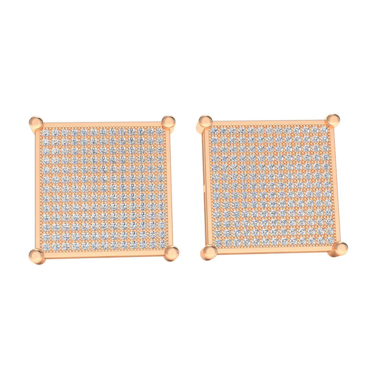 1.70 Ct Hip Hop Round H SI2 Diamond Stud Earrings For Adults 10k Gold