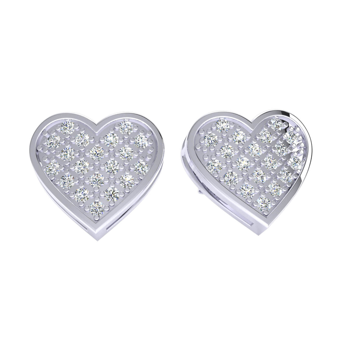 0.20 Ct Round GH SI1 Diamond Heart Womens Stud Earrings 14k Gold