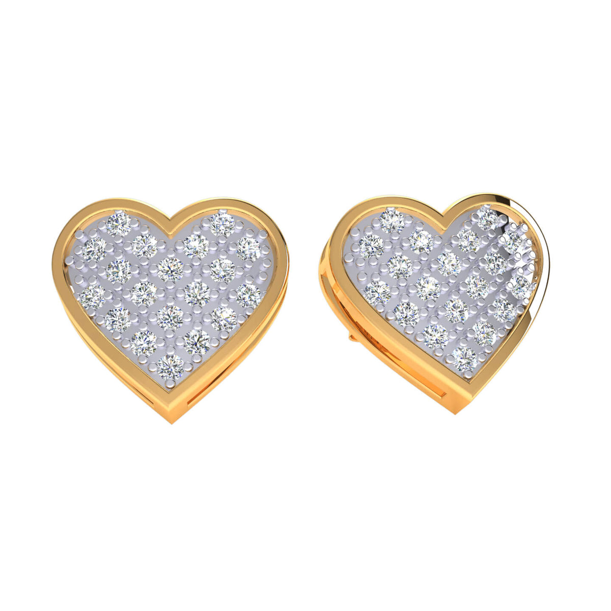0.20 Ct Round GH I1-I2 Diamond Heart Womens Stud Earrings 925 Sterling Silver